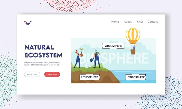 Natural ecosystem landing page template. earth biosphere infographics. atmosphere, lithosphere and hydrospehre. characters watering plants, flying on air balloon. cartoon people vector illustration