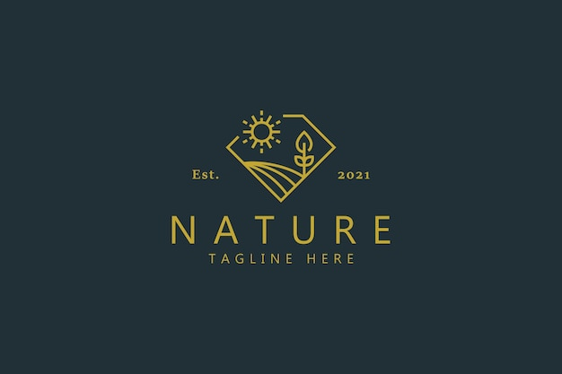 Natural farm luxury badge logo with illustration landscape on diamond shape. creative idea design template.