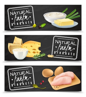 Natural farm product horizontal banners with butter cheese eggs sour cream chicken fillet realistic icons  illustration