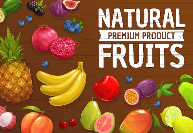Натуральные фермы спелые фрукты ананас, манго, персик и банан, гранат, яблоко и груша. инжир, гуава, ежевика и черника, лайм, лимон. фейхоа, личи и вишня, свежие фрукты и ягоды