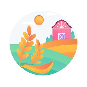 Illustrazione di vettore di concetto astratto di agricoltura naturale. approccio all'agricoltura ecologica, fertilità, agricoltura biologica e sostenibile, biodiversità naturale locale, metafora astratta dell'agroindustria.
