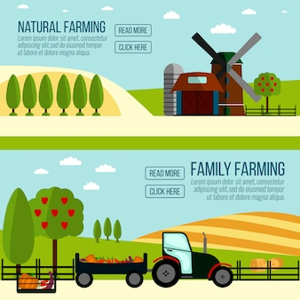 Natural farming banner. agriculture farming and rural landscape .