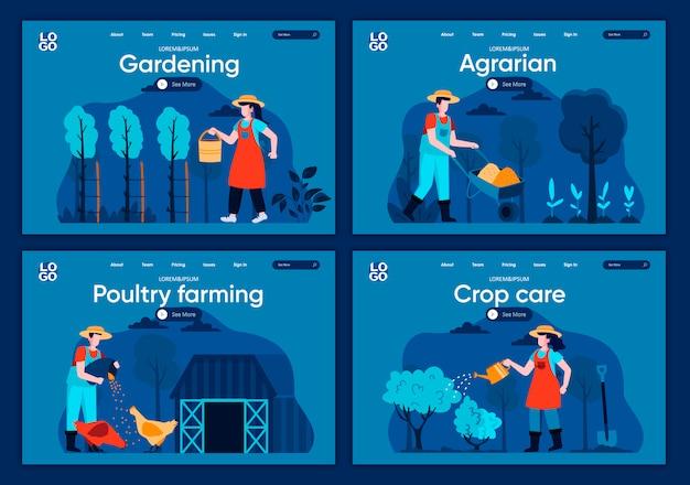 自然農業フラットランディングページセット。農家は作物を植え、水をまき、ウェブサイトまたはcmsウェブページの家畜シーンに餌をやります。養鶏、農学、作物のケア、園芸の図