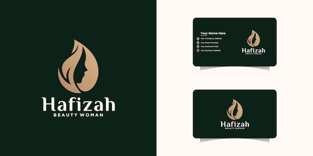 Natural female beauty logo design template and business card Premium Vector