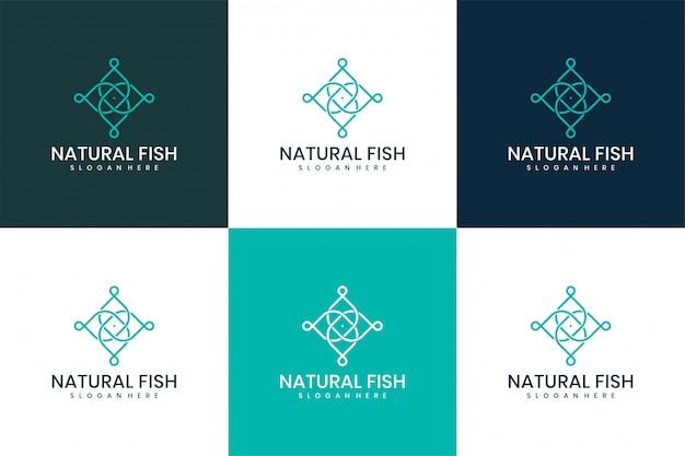 Дизайн векторных логотипов природных рыб.