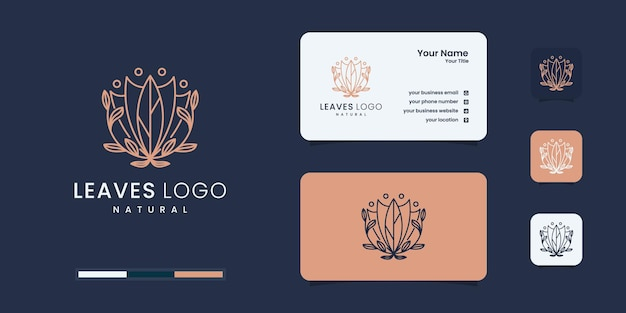 モダンなデザインのブランディングのための自然の花と葉のロゴ