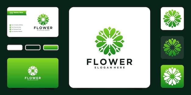 自然の花のロゴのアイコンのデザインと名刺のインスピレーション