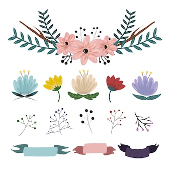 Natural flower and ribbon