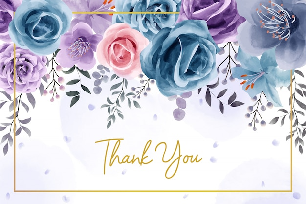 Natural flower watercolor thank you card
