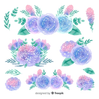 Natural flowers bouquet watercolor background