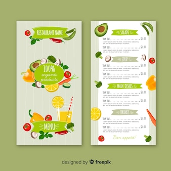 Natural food menu template