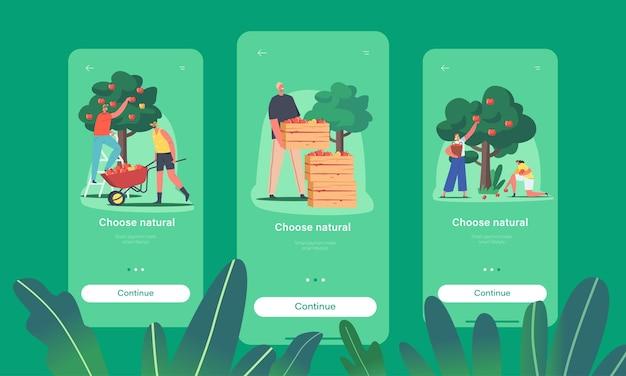ナチュラルフードモバイルアプリページオンボード画面テンプレート。庭や果樹園、農業でリンゴを収穫するキャラクター
