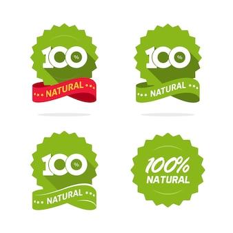 Натуральные продукты питания значок логотип вектор bade этикетка зеленая розетка плоский мультфильм печать изолированные