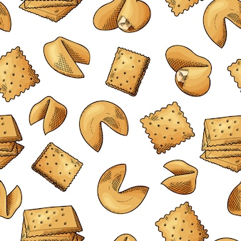 Natural food seamless pattern. sketch style cookies