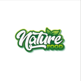 Natural food typography logo design