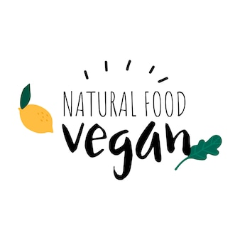 Natural food vegan logo vector