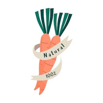 Natural fresh food badge vector