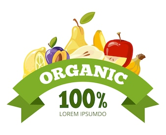 Natural fresh food, fruits logo badge