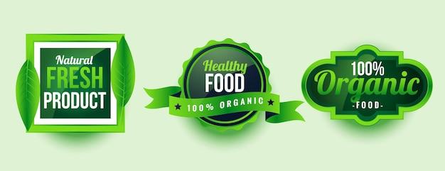 Design di etichette di prodotti biologici sani e freschi naturali
