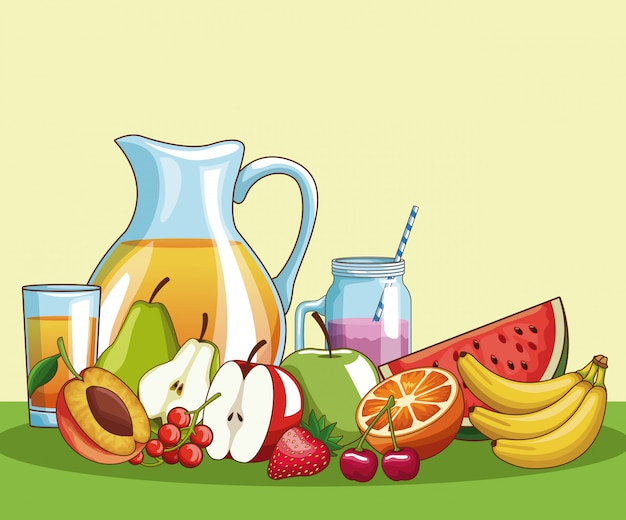 Natural fruits with delicious juice