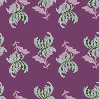 緑の菊の花がプリントされたナチュラルガーデンのシームレスなパターン。紫の背景。テキスタイル、ファブリック、ギフトラップ、壁紙のフラットベクタープリント。無限のイラスト。