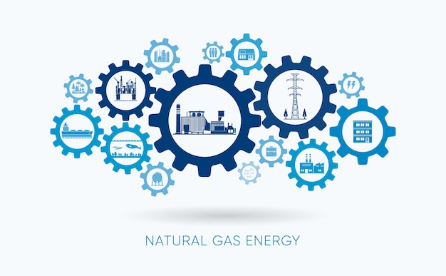 Natural gas energy, natural gas  power plant with gear icon