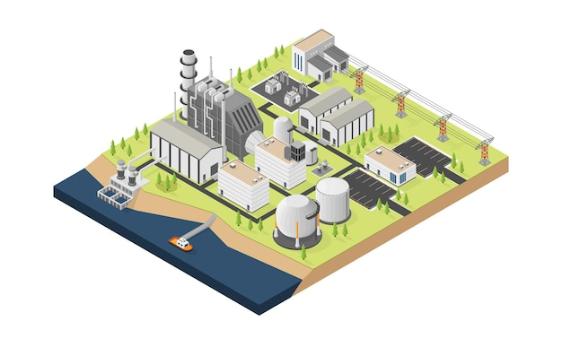 The natural gas energy natural gas  power plant with isometric style