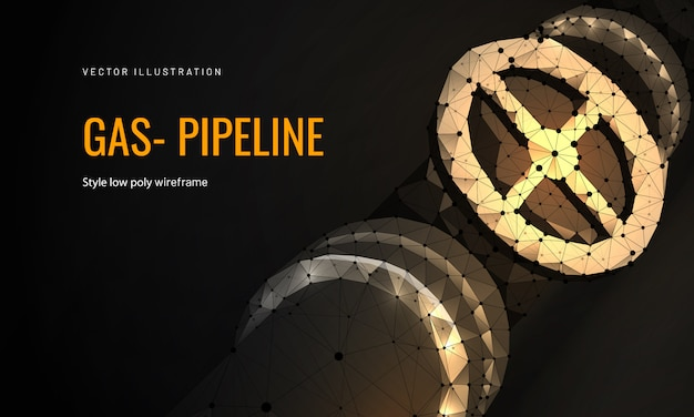 Natural gas pipeline in polygonal wireframe style