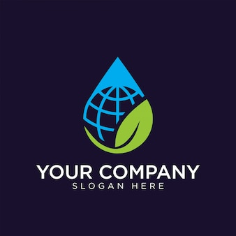 Natural globe logo design premium template stock