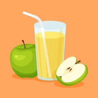 Натуральный сок зеленого яблока в стакане. свежевыжатый фруктовый сок с нарезанным ломтиком и трубочкой. здоровая органическая еда.