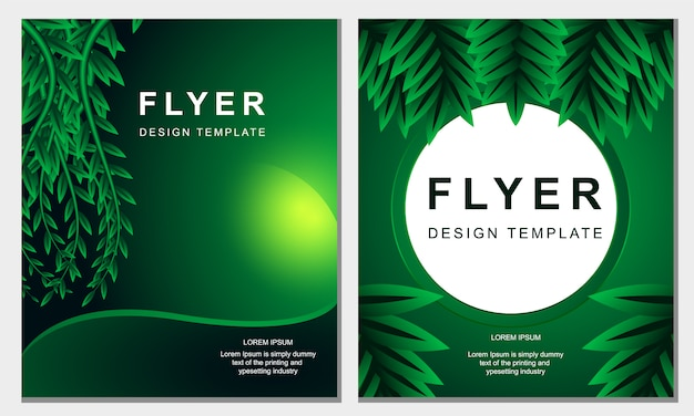 Natural green flyer poster leaf template