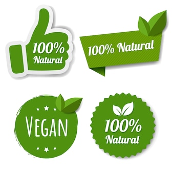 Natural green labels set with leaves