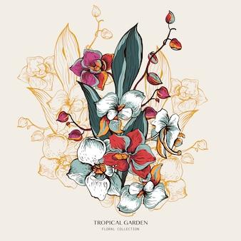 咲く蘭の自然なグリーティングカード。エキゾチックな花