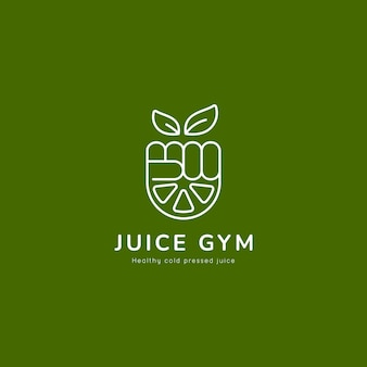 Natural healthy gym juice logo with hand fist and lemon slice icon illustration