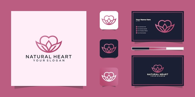 Natural heart logo line art style and business card