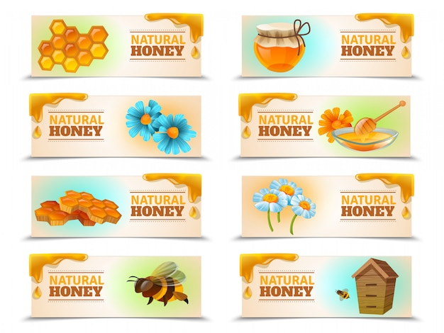 Natural honey horizontal banner set