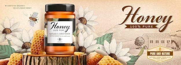 Natural honey skin care banner