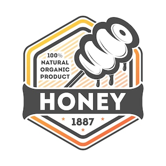 Natural honey vintage isolated label