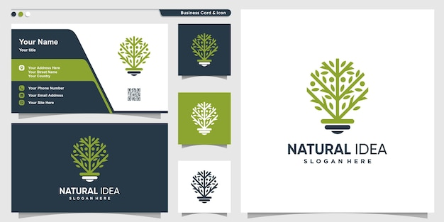 Natural idea tree logo with line art style and business card design template, tree, idea, smart