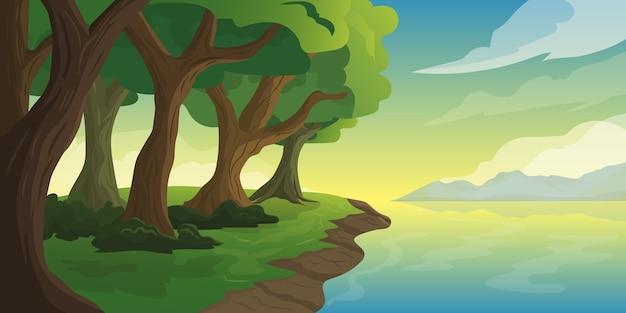 일출 산과 바다 배경을 볼 수있는 나무가 많은 섬 해안의 자연 그림
