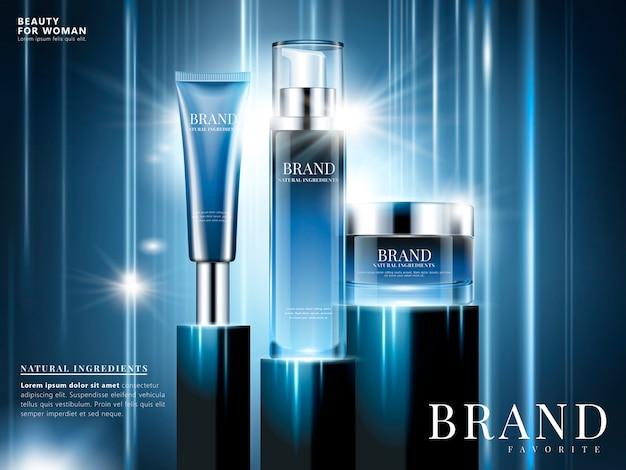 Косметическая реклама с натуральными ингредиентами, синяя упаковка на синем фоне с эффектом свечения и луча на иллюстрации