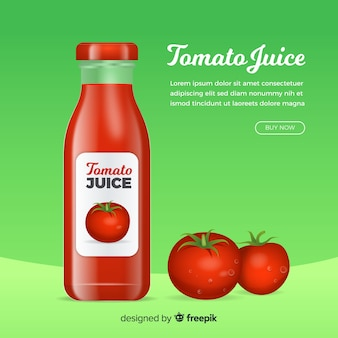 Natural juice ad in realistic style
