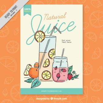 Manifesto succo naturale con succo d'arancia e straberry