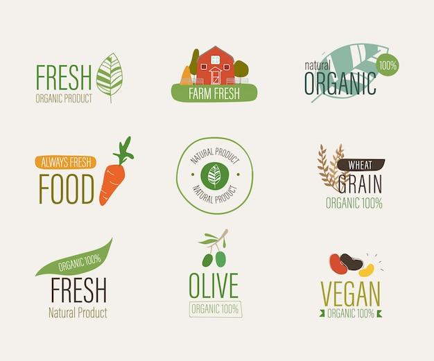 Натуральные этикетки и свежие органические баннер сельское хозяйство.