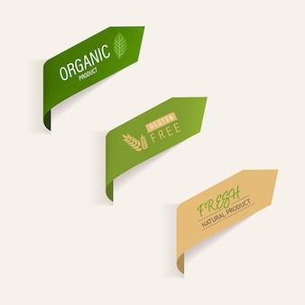 Натуральный ярлык и органический баннер зеленый цвет
