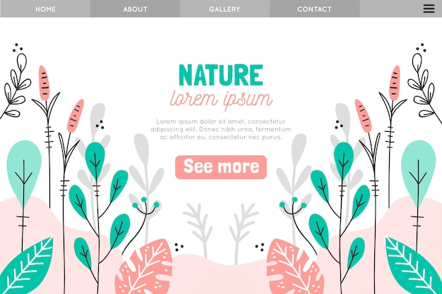 Natural landing page hand drawn template