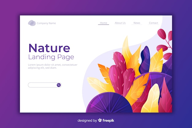 Natural landing page with flowers