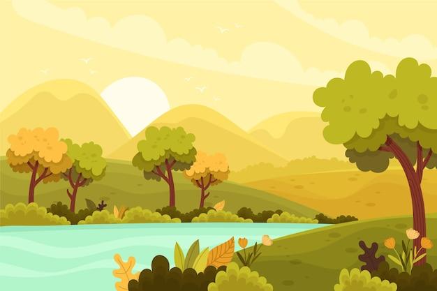Природный ландшафт - фон для видеоконференцсвязи