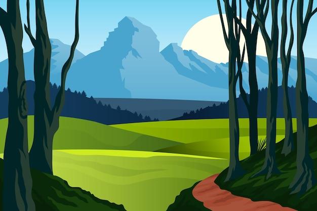 Natural landscape background for video conferencing