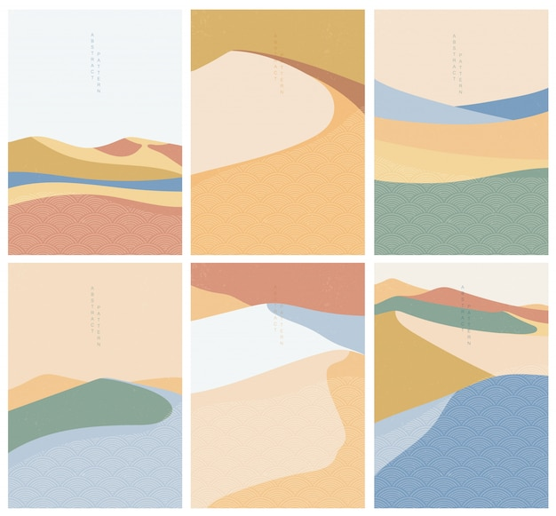 Natural landscape illustration with japanese wave vector. geometric style